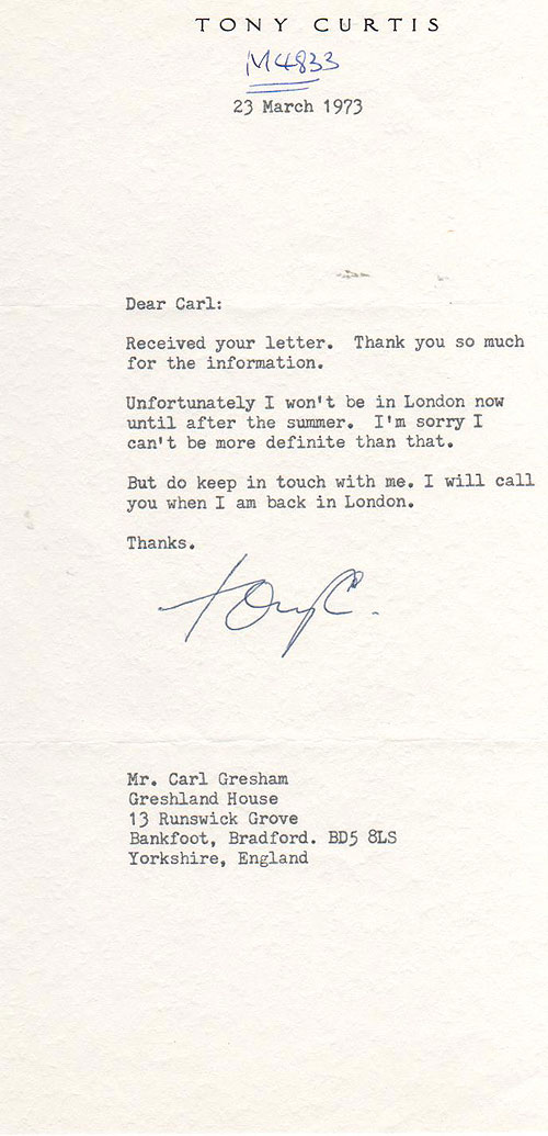 Ronnie Corbett Letter from the London Palladium